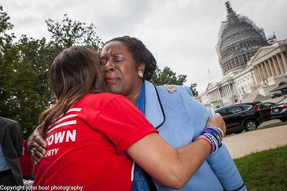 "Rep. Sheila Jackson Lee, D-TX, hugs Lucy McBath, mother of Jordan Davis, who was fatally shot in November 2012, during a rally organized to support victims of gun violence and pressure politicians to do ""whatever it takes"" to prevent gun violence.  Andy Parker, made his first visit to Washington, D.C. since his daughter, WDBJ_TV reporter, Alison Parker, was shot and killed on live television near Roanoke, VA last week.  The rally, organized by Everytown for Gun Safety, brought Parker together with Virginia Senators, Mark Warner, Tim Kaine and Virginia Governor, Terry McAuliffe near the United States Capitol, on Thursday, September 10, 2015.  John Boal/for The New York Daily News"