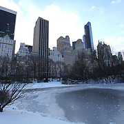 Central Park is seen covered with snow and ice in New York on Thursday, Jan. 23, 2014. A recent snow storm created by a polar vortex, dumped almost a foot of snow in some areas of New York City, followed by bitter cold. The NFL plans on featuring the Super Bowl at MetLife stadium in New Jersey on February 3rd amid growing concerns about more snow and bitter cold arriving just prior to the game.  (AP Photo/Alex Menendez)