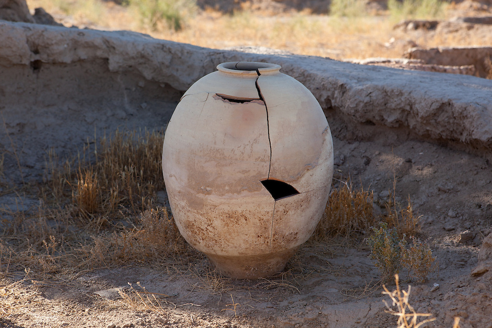 A pieced-together poettery jar on the grounds of Gonur Depe archaeological site, Turkmenistan