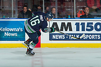 KELOWNA, CANADA - FEBRUARY 23:  Noah Philp #16 of the Seattle Thunderbirds takes a shot from centre ice against the Kelowna Rockets on February 23, 2018 at Prospera Place in Kelowna, British Columbia, Canada.  (Photo by Marissa Baecker/Shoot the Breeze)  *** Local Caption ***