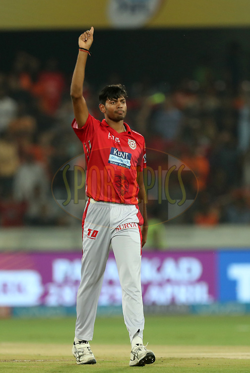 Ankit Rajpoot of Kings XI Punjab celebrates wicket of Kane Williamson captain of Sunrisers Hyderabad  during match twenty five of the Vivo Indian Premier League 2018 (IPL 2018) between the Sunrisers Hyderabad and the Kings XI Punjab  held at the Rajiv Gandhi International Cricket Stadium in Hyderabad on the 26th April 2018.<br /> <br /> Photo by: Prashant Bhoot /SPORTZPICS for BCCI