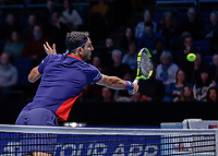 Tennis - 2019 Nitto ATP Finals at The O2 - Day Six<br /> <br /> Doubles Group Max Mirnyi: Juan Sebastien Cabal (COL) & Robert Farah (COL) Vs. Kevin Krawietz (GER) & Andreas Mies (GER)<br /> <br /> Robert Farah (CAN) with a block at the net <br /> <br /> COLORSPORT/DANIEL BEARHAM