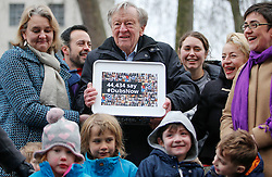 © Licensed to London News Pictures. 11/02/2017. London, UK. LORD DUBS is joined by campaigners and supporters as he arrives at 10 Downing Street in London to hand in a petition petition calling on the PM to reconsider lone child refugee policy.. Photo credit: Tolga Akmen/LNP
