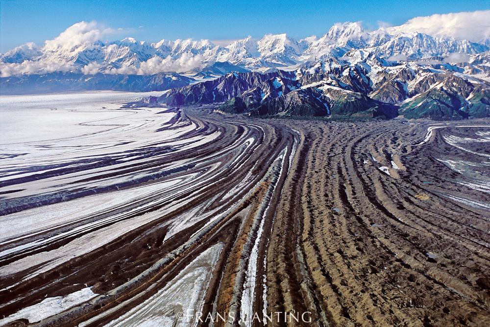 Malaspina glacier and mountains (aerial), Wrangell-St. Elias National Park, Alaska