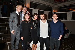 Left to right, Freddie Fox, Allen Leech, Sarah Ovens, Annabel Scholey, Douglas Booth and Edward Holcroft at the Old Vic 24 Hour Plays Celebrity Gala held at the Rosewood Hotel, 252 High Holborn, London on 24th November 2013.