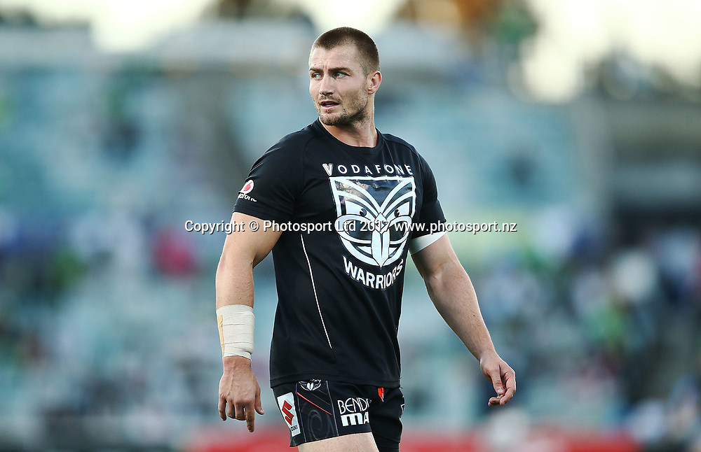 Kieran Foran of the Warriors warms up before the NRL Rugby League match between Canberra Raiders and Vodafone Warriors at GIO Stadium, Canberra, Australia. Saturday 15 April 2017 © Copyright Photo: Mark Metcalfe / www.Photosport.nz