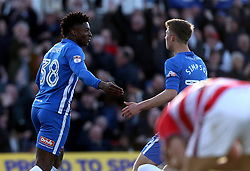 Devante Rodney of Hartlepool United celebrates scoring a goal to make it 2-1 - Mandatory by-line: Robbie Stephenson/JMP - 06/05/2017 - FOOTBALL - The Northern Gas and Power Stadium (Victoria Park) - Hartlepool, England - Hartlepool United v Doncaster Rovers - Sky Bet League Two