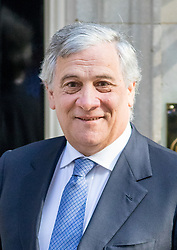 © Licensed to London News Pictures. 20/04/2017. London, UK. President of the European Parliament Antonio Tajani in Downing Street today. May triggered Article 50 on 29 March 2017, formally beginning Britain's exit from the EU. Photo credit : Tom Nicholson/LNP