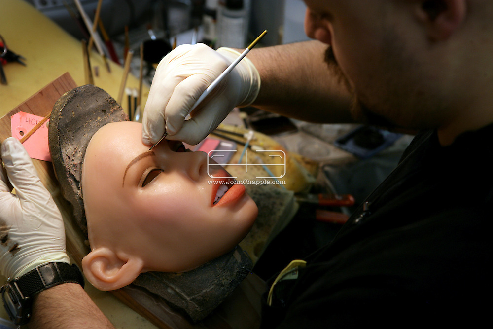 2nd April 2008, San Marcos, California. Have you ever wanted a girlfriend that didn't talk back? One Southern Californian company produces a life-like doll made of silicone rubber that has a flesh-like feel. Each doll is custom made to your specifications from body shape to eye colour. Known as the 'Ferrari of love-dolls', at US$6500 they are the price of a used car. Extras include realistic eyes for $350 per pair, human hair eyebrows for $150. Pictured on the production line is Derek Trunk. PHOTO © JOHN CHAPPLE / REBEL IMAGES.john@chapple.biz    www.chapple.biz
