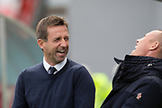 29th September 2018, Hope CBD Stadium, Hamilton, Scotland; Ladbrokes Premiership football, Hamilton versus Dundee; Dundee manager Neil McCann shares a laugh with Kenny Miller who misses the game through suspension