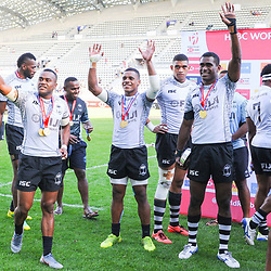 Team of Fiji celebrates after the final match between Fiji and New Zealand at the HSBC Paris Sevens, stage of the Rugby Sevens World Series on June 2, 2019 in Paris, France. (Photo by Sandra Ruhaut/Icon Sport)