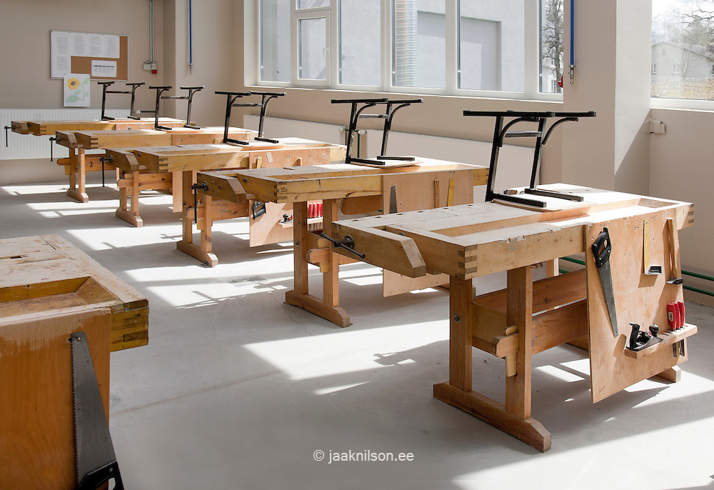 Joinery, carpentry and woodwork classroom or workshop in Vana-Vigala Technical and Service School in Estonia