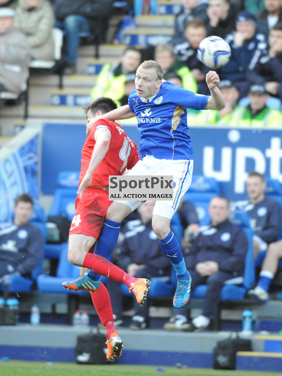 LEICESTERS RITCHIE DE LAET, HOLDS OF CHARLTONS JOHNNIE JACKSON, Leicester City v Charlrlton Athletic, Sky Bet Champ, Saturday 1st March 2014
