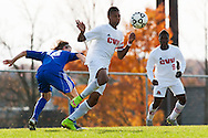 CVU's Trey Tomasi (25) plays the ball during the boys semifinal soccer game between Mount Anthony and Champlain Valley Union at CVU high school on Tuesday afternoon October 27, 2015 in Hinesburg. (BRIAN JENKINS/ for the FREE PRESS)