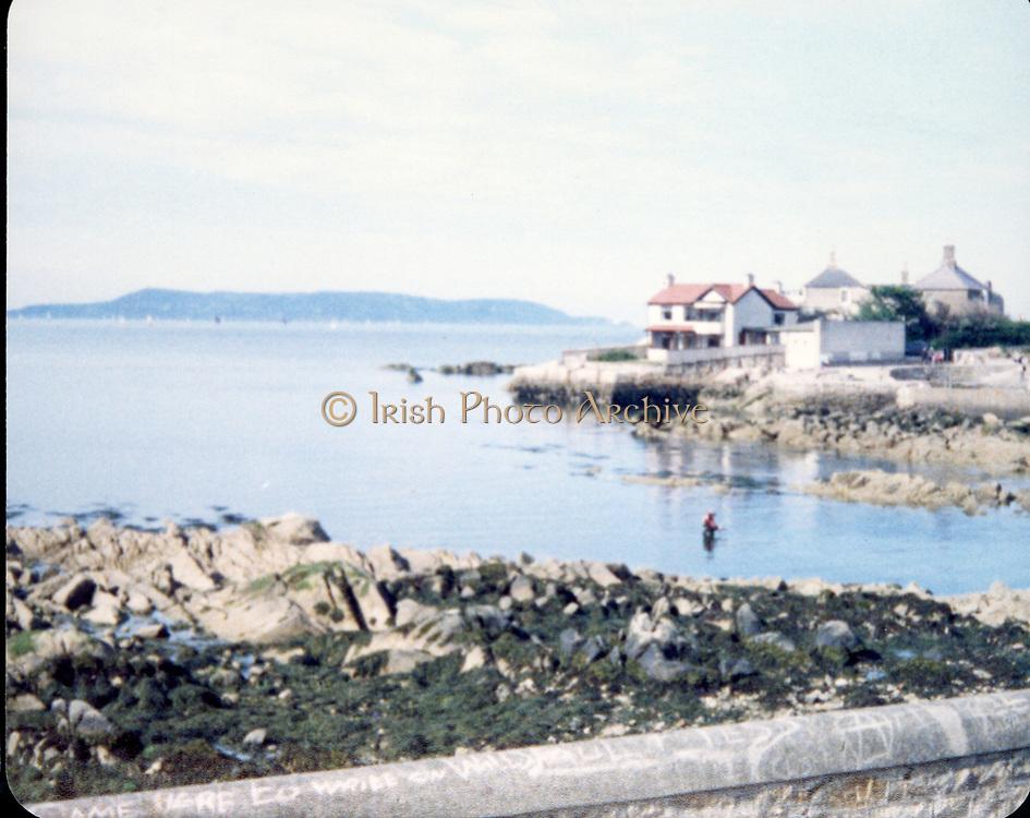 Old Dublin Amature Photos 1980s With Martello Tower, seaside, Veranda, sea, fishing,