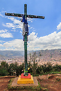 Crosses on the summit overlooking, Cusco, peru
