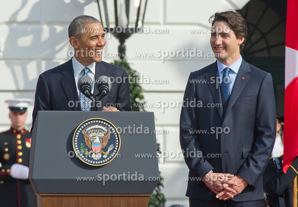 United States President Barack Obama, left, makes remarks during an Arrival Ceremony opening the Official Visit of Prime Minister Justin Trudeau of Canada, right, and Mrs. Sophie Gr&eacute;goire Trudeau on the South Lawn of the White House in Washington, DC on Thursday, March 10, 2016. EXPA Pictures &copy; 2016, PhotoCredit: EXPA/ Photoshot/ Ron Sachs<br /> <br /> *****ATTENTION - for AUT, SLO, CRO, SRB, BIH, MAZ, SUI only*****