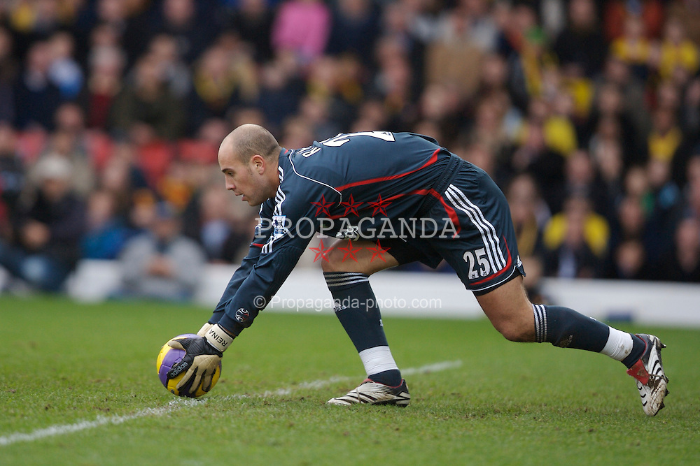 Watford, England - Saturday, January 13, 2007: Liverpool's goalkeeper Jose Reina in action against Watford during the Premiership match at Vicarage Road. (Pic by David Rawcliffe/Propaganda)