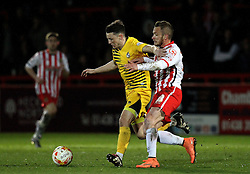 Ollie Clarke of Bristol Rovers battles with Dean Parrett of Stevenage - Mandatory by-line: Robbie Stephenson/JMP - 19/04/2016 - FOOTBALL - Lamex Stadium - Stevenage, England - Stevenage v Bristol Rovers - Sky Bet League Two