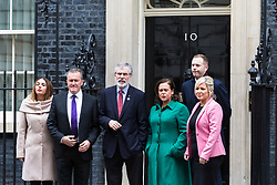 London, November 21 2017. Gerry Adams and his team emerge from 10 Downing Street after leaders of Northern Ireland's two main political parties the DUP and Sinn Fein met separately with British Prime Minister Theresa May at Downing Street. © Paul Davey