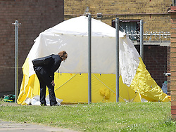© Licensed to London News Pictures. 16/05/2018. London, UK, Police in Crows road, Barking in east London, at the scene of a murder of a twenty four year old male. Emergency services were called at 11.30 on Thursday night to a stabbing in the area but he was pronounced dead at the scene. Photo credit: Steve Poston/LNP