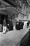 08/06/1963<br /> 06/08/1963<br /> 08 June 1963<br /> Re-dedication of Methodist Church, Abbey Street, Dublin.  Reopening and re-dedication of the Church as the new headquarters of the Dublin Central Mission, seeing the amalgamation of the Abbey Street and Blackhall Place Circuit and the Dublin Central Mission Circuit. Image shows the Reverends entering the church.