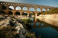 Pont du Gard, the ancient Roman Aqueduct, in Languedoc, France..Photo by Owen Franken