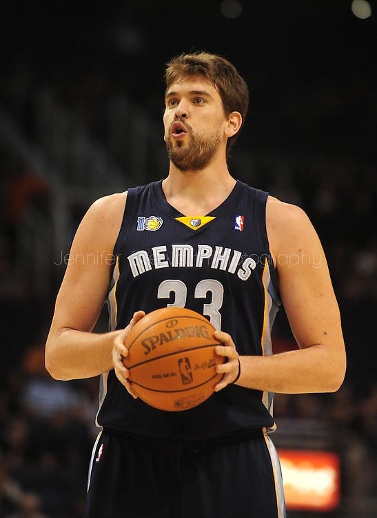 Nov. 5 2010; Phoenix, AZ, USA; Memphis Grizzlies center Marc Gasol (33) reacts on the court against the Phoenix Suns at the US Airways Center.  The Suns defeated the Memphis Grizzlies in double over time 123 - 118.  Mandatory Credit: Jennifer Stewart-US PRESSWIRE...
