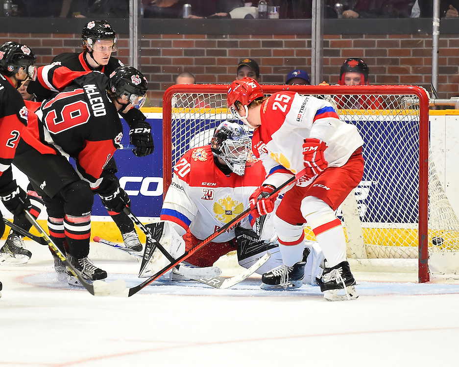 Action from Game 3 of the CIBC Canada-Russia Series in North Bay, ON on Thursday November 10, 2016. Photo by Aaron Bell/CHL Images