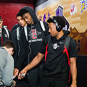 08 March 2018: San Diego State men's basketball team arrives at the Thomas &amp; Mack Center prior to their game against Fresno State in their first game of the Mountain West Conference Tournament. <br /> More game action at www.sdsuaztecphotos.com