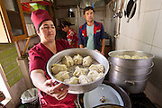 Uzbekistan, Samarqand.<br /> Registan restaurant. Preparation of Manty (steamed dumplings).