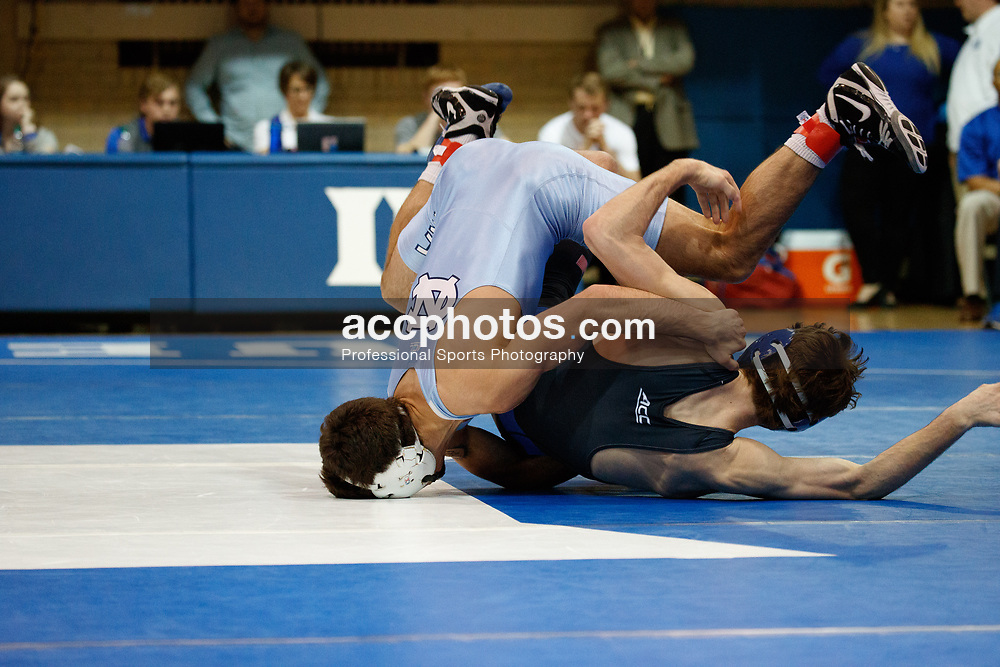 2017 February 08: Duke Blue Devils wrestling during a 25-15 loss to the the North Carolina Tar Heels at Card Gymnasium in Durham, NC.<br /> <br /> 133: Cole Baumgartner (Duke) tech fall Nicolas Lirette, 18-2