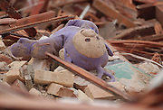 A stuffed toy from the buildings former day care program lies atop the rubble of the Holy Childhood building in Harbor Springs.