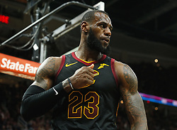April 25, 2018 - Cleveland, OH, USA - The Cleveland Cavaliers' LeBron James celebrates a basket and foul in the third quarter against the Indiana Pacers in Game 5 on Wednesday, April 25, 2018, at Quicken Loans Arena in Cleveland. The Cleveland Cavaliers won, 98-95, for a 3-2 lead in the first-round NBA playoff series. (Credit Image: © Leah Klafczynski/TNS via ZUMA Wire)