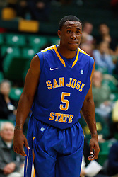 Nov 16, 2011; San Francisco CA, USA;  San Jose State Spartans guard Calvin Douglas (5) before a free throw against the San Francisco Dons during the first half at War Memorial Gym.  San Francisco defeated San Jose State 83-81 in overtime. Mandatory Credit: Jason O. Watson-US PRESSWIRE