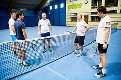 Event for sponsors of Tenis Slovenija when they are playing tennis with Slovenian men Davis Cup team, on January 25, 2018 in Tennis Centre Breskvar, Ljubljana, Slovenia.  Photo by Vid Ponikvar / Sportida