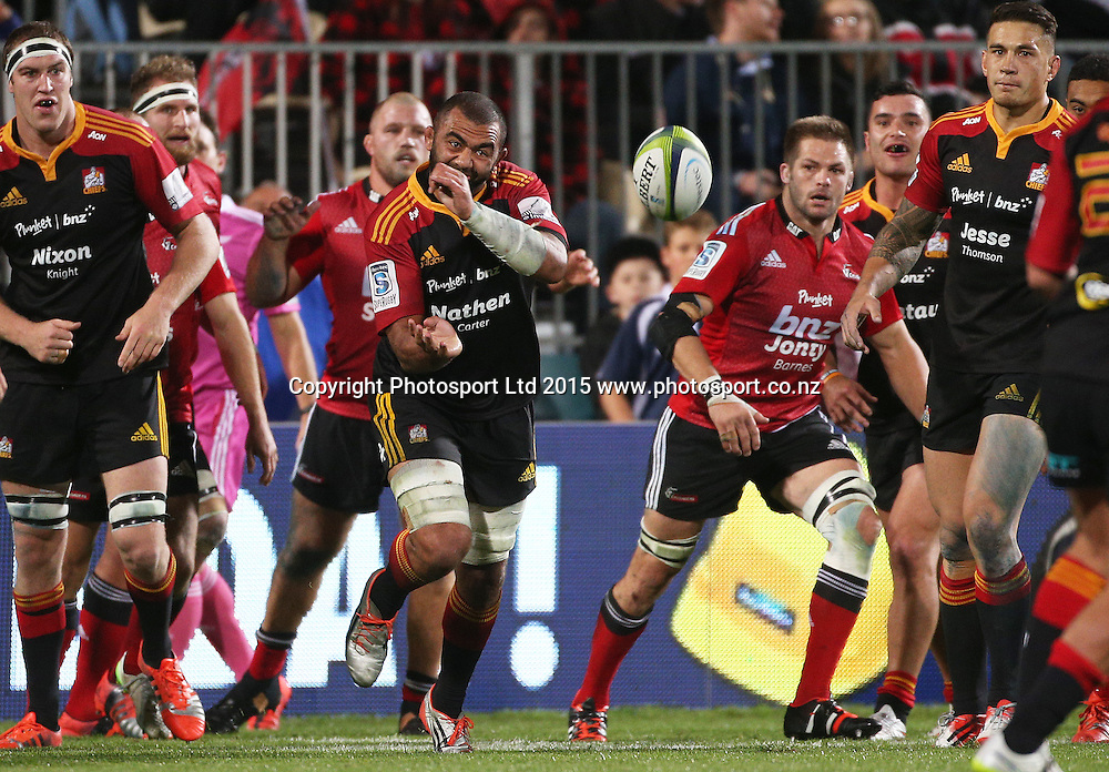 Michael Leitch of the Chiefs passing the ball during the Investec Super Rugby game between the Crusaders v Chiefs at AMI Stadium i Christchurch. 17 April 2015 Photo: Joseph Johnson/www.photosport.co.nz