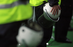 Guard's helmet at the fourth round qualification game of 2010 FIFA WORLD CUP SOUTH AFRICA in Group 3 between Slovenia and Northern Ireland at Stadion Ljudski vrt, on October 11, 2008, in Maribor, Slovenia.  (Photo by Vid Ponikvar / Sportal Images)