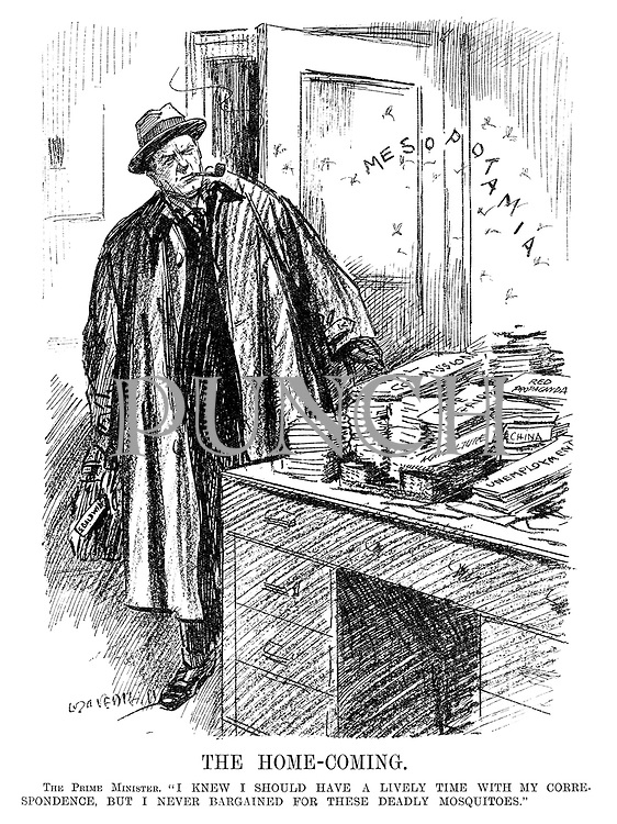 "The Home-Coming. The Prime Minister. ""I knew I should have a lively time with my correspondence, but I never bargained for these deadly mosquitoes."" (cartoon showing British Prime Minister Stanley Baldwin returning to his office to see Iraqi mosquitoes above his desk above piles of Red Propaganda, Unemployment, Agriculture, Home Affiars, Coal Commission and China during the InterWar era)"