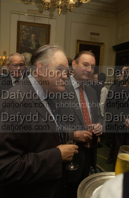 Lord Armstrong, Barbershop: Truefitt & Hill  200th anniversary Bollinger champagne breakfast. Carlton Club, 69 St James's Street, London, SW1, 27 October 2005. October 2005. ONE TIME USE ONLY - DO NOT ARCHIVE © Copyright Photograph by Dafydd Jones 66 Stockwell Park Rd. London SW9 0DA Tel 020 7733 0108 www.dafjones.com