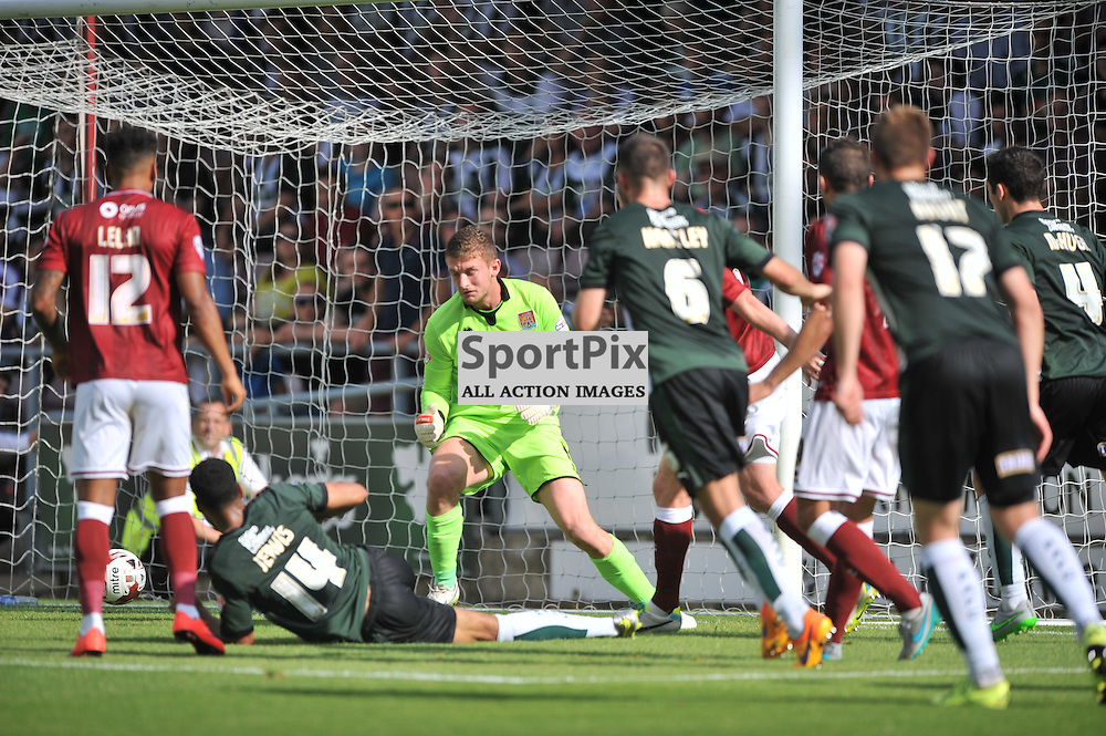 Plymouths Jake Jervis chips in Plymouths Second Goal, Northampton Town v Plymouth Argyle, Sky Bet League 2, Saturday 22/8/2015