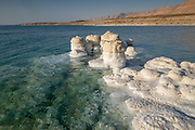 Crystallized slat rocks along the shores of the Dead Sea, Israel.