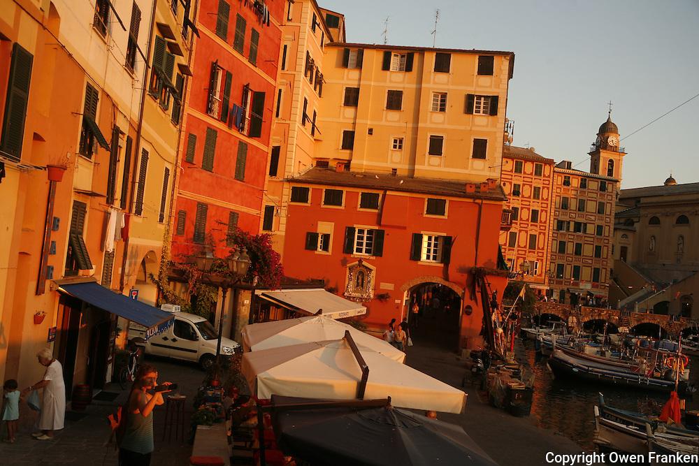 in the fishing port of Camogli, Liguria, on the Italian Riviera.