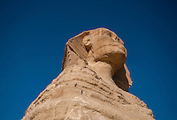 Looking up at the head of the Sphinx, Giza, Egypt.