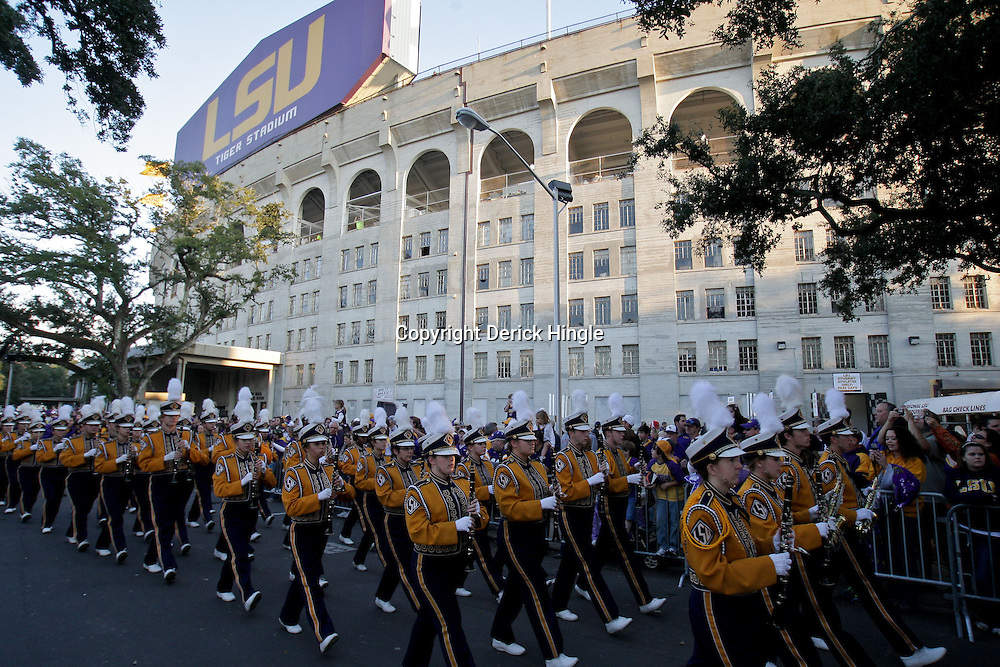 Nov 28, 2009; Baton Rouge, LA, USA; The LSU Tigers Band marches down victory hill prior to kickoff against the Arkansas Razorbacks at Tiger Stadium.  Mandatory Credit: Derick E. Hingle-US PRESSWIRE