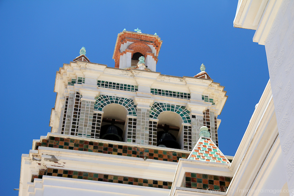 South America, Bolivia, Copacabana. Bell Tower of Basilica of Our Lady of Copacabana.