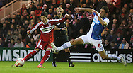 Picture by Paul Gaythorpe/Focus Images Ltd +447771 871632.26/12/2012.Emmanuel Ledesma of Middlesbrough and Jason Lowe of Blackburn Rovers during the npower Championship match at the Riverside Stadium, Middlesbrough.
