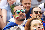 Jun 14, 2018 St petersburg, Russia. Football fans from around the world during the FIFA World Cup 2018 match between Russia and Saudi Arabia at Fan Fest zone.