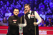 Mark Allen and Ricky Walden handshake before the Snooker Players Championship Final at EventCity, Manchester, United Kingdom on 27 March 2016. Photo by Pete Burns.