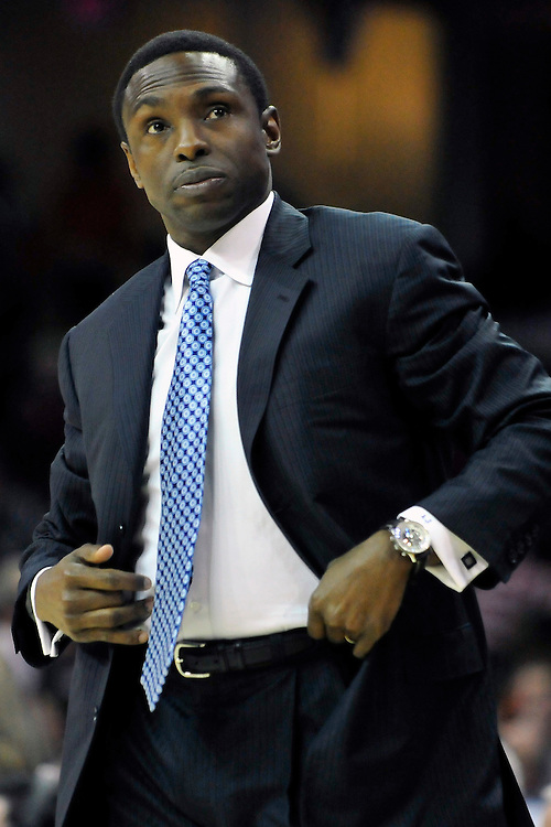 March 23, 2010; Cleveland, OH, USA; New Jersey Nets head coach Avery Johnson during the second quarter against the Cleveland Cavaliers at Quicken Loans Arena. Mandatory Credit: Jason Miller-US PRESSWIRE